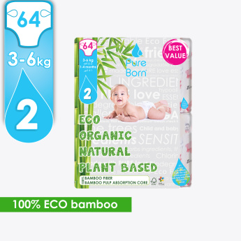 PureBorn Eco Organic 64-Piece Baby Diapers