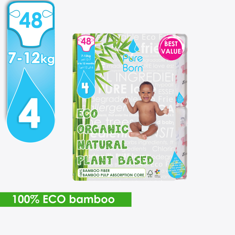 Pure Born Eco Organic Size 4, 48-Diapers Pack - 7-12 kgs, 6-12 Months