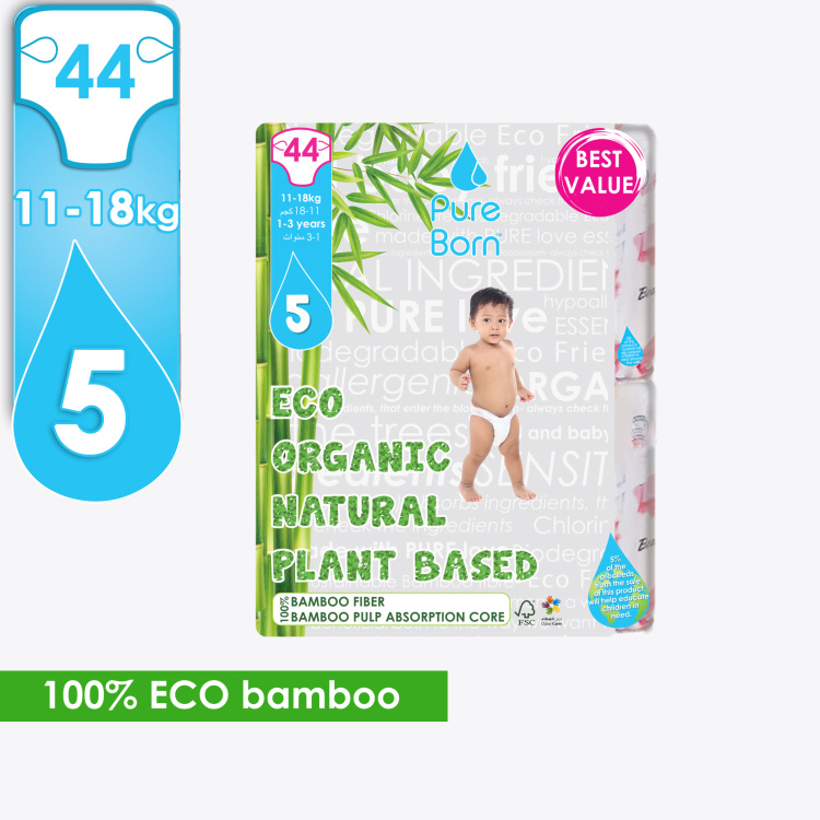 Pure Born Eco Organic Size 5, 44-Diapers Pack - 11-18 kgs, 1-3 Years