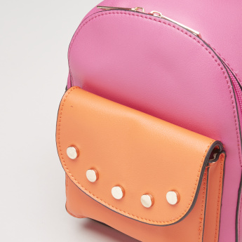 Charmz Studded Backpack with Zip Closure