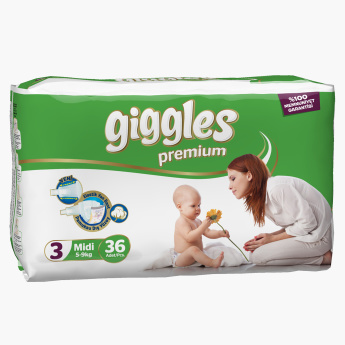 Giggles Premium 36-Piece Baby Diapers - Size 3
