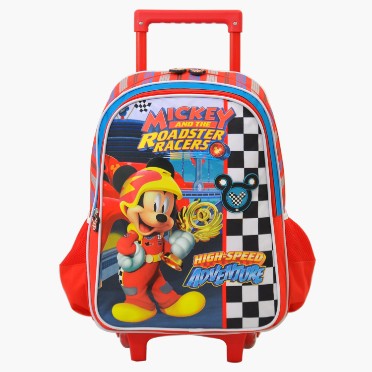 Mickey Mouse Printed Trolley Backpack with Zip Closure