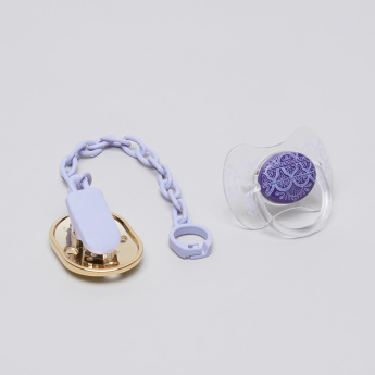 Suavinex Printed Soother with Metallic Clip and Chain