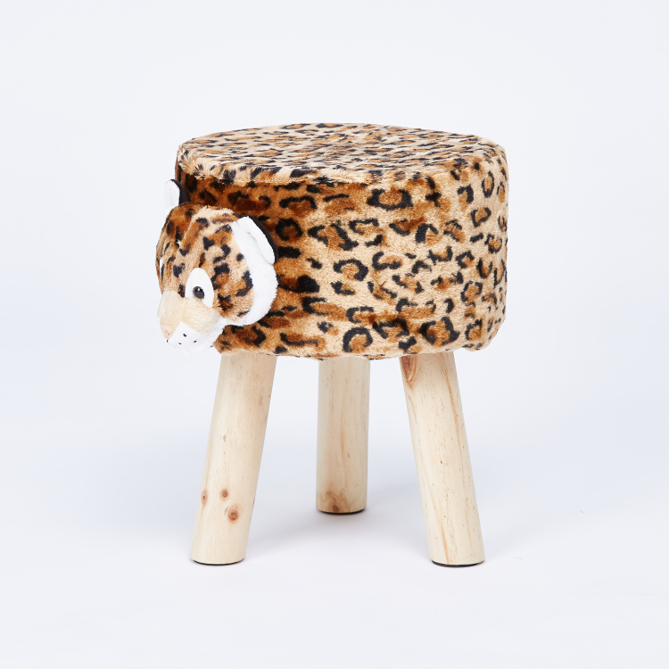 Juniors 3-Leg Stool with Plush Leopard Cover