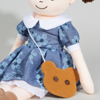 Juniors Printed Rag Doll with Bear Face Slingbag