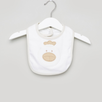 Juniors Embroidered Applique Detail Bib with Press Button Closure