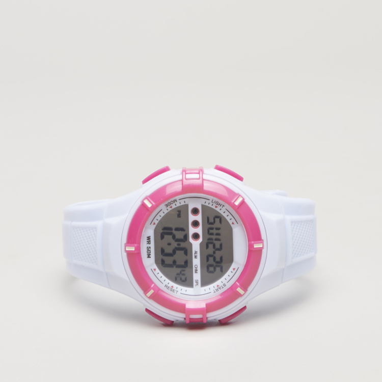 Charmz Digital Watch with Pin Buckle Closure