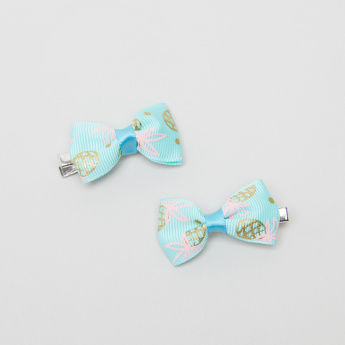 Charmz Printed Bow Shaped Hair Clips