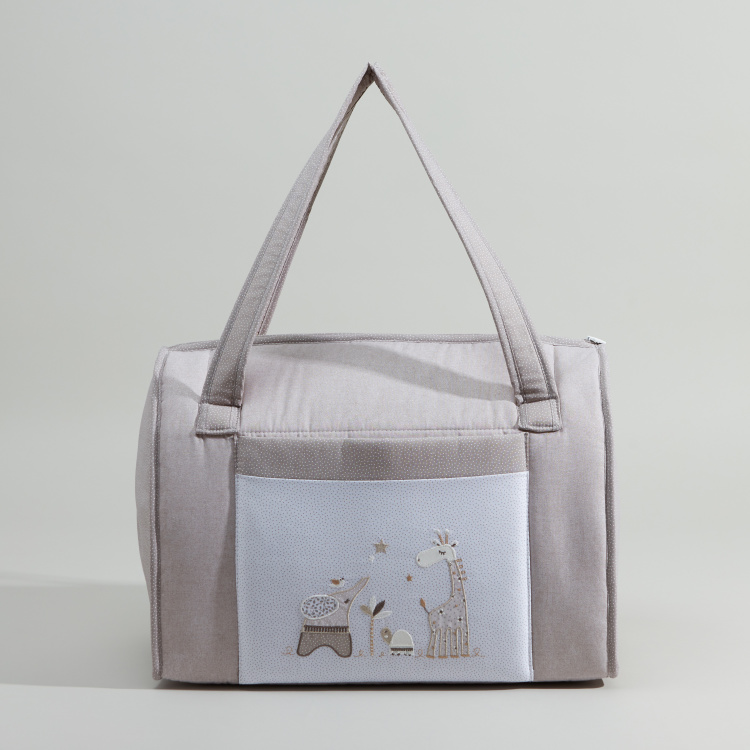 Cambrass Printed Diaper Bag with Applique Detail