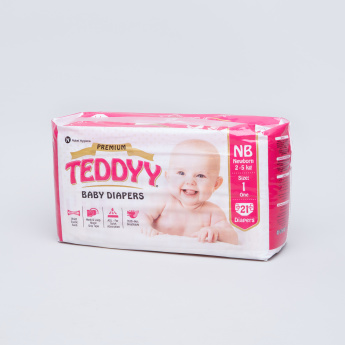 Teddyy Premium Size Baby Diapers for New Borns - 21 Pieces