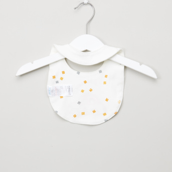 Juniors Car Embroidered Bib with Press Button Closure