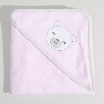 Juniors Hooded Printed Towel with 5-Piece Wash Cloths - 76x76 cms
