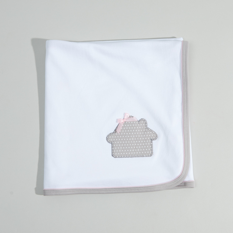 Juniors House Applique Receiving Blanket - 80x80 cms