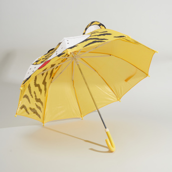 Tiger Printed Umbrella with Crook Handle