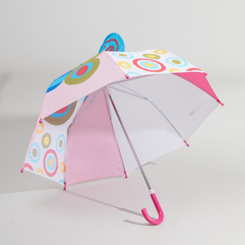 Butterfly Printed Umbrella with Crook Handle