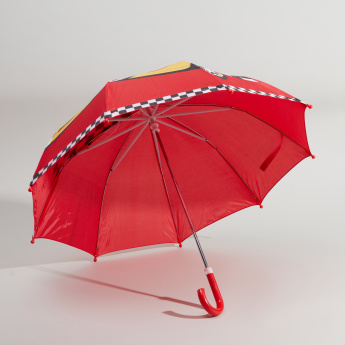 Race Car Printed Umbrella with Crook Handle