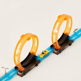 Juniors Super Racer Track Playset with 2 Pull Back Cars