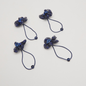 Charmz Beaded Hair Tie with Floral Applique - Set of 4