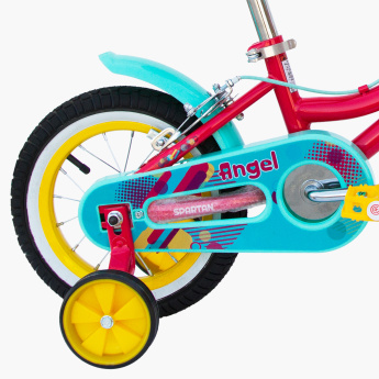 SPARTAN Printed Angel Bicycle with Training Wheels - 12 inches