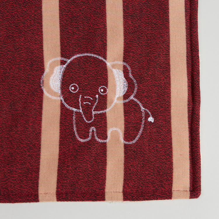 Juniors Striped Sherpa Blanket with Embroidered Elephant - 76x102 cms