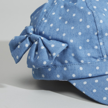 Juniors Printed Cap with Bow Detail and Elasticised Strap