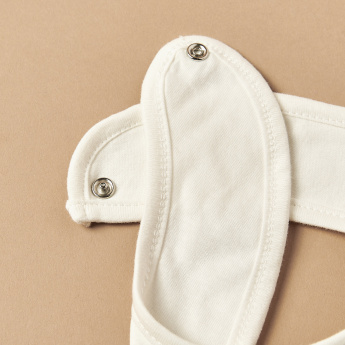 Juniors Printed Applique Detail Bib with Snap Button Closure