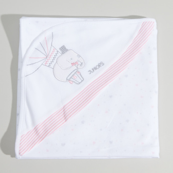 Juniors Embroidered Receiving Blanket with Hood - 81x81 cms