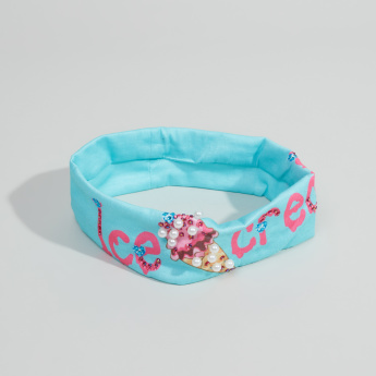 Charmz Printed Hairband with Beaded Embellishments