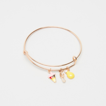 Charmz Metallic Bangle with Dangling Charms