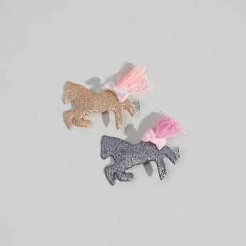 Charmz Applique and Tassel Detail Hair Clip - Set of 2