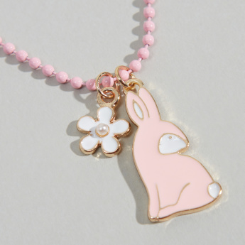 Charmz Bunny Pendant Necklace and Earrings Set