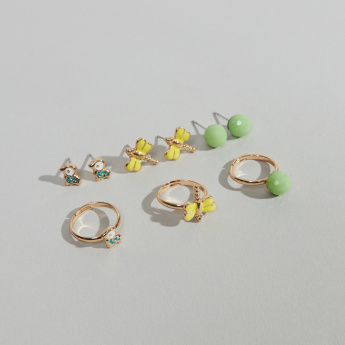 Charmz 6 piece Earrings Set with Finger Rings