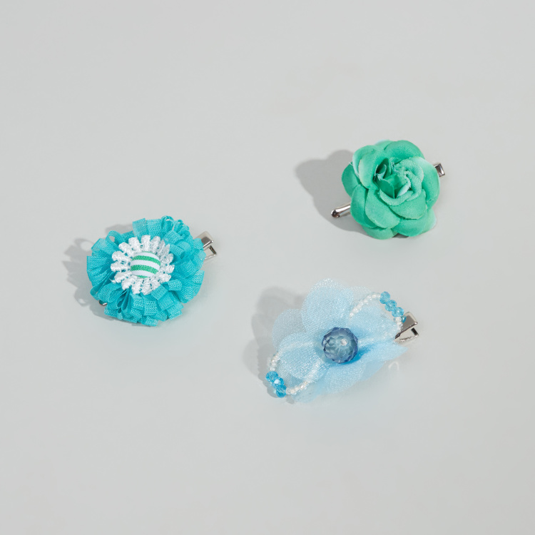 Charmz 3-Piece Floral Embellished Hair Clips