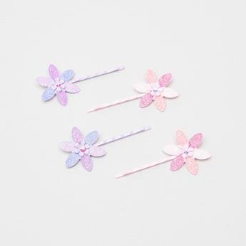 Charmz Hair Pins with Floral Accent - Set of 4