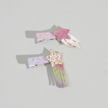 Charmz Glitter Hair Clip with Star Detail - Set of 2