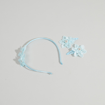 Charmz Floral Embellished 2-Piece Hair Clips and Headband
