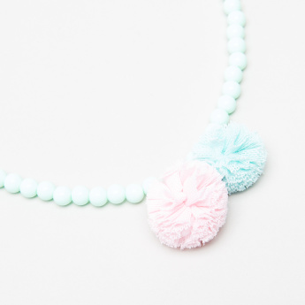 Charmz Beaded Necklace with Pom-Pom Detail