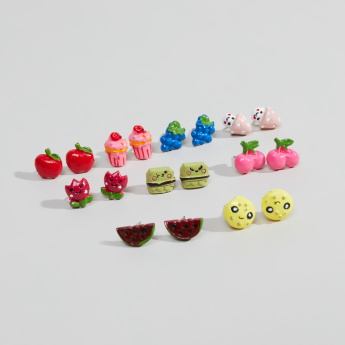 Charmz Fruit Shaped 9 piece Earrings Set with Pushback Closure