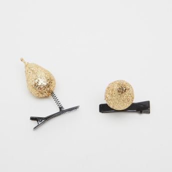 Charmz Hairclips with Glitter Pear Motifs - Set of 2