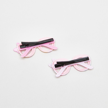 Charmz Hair Clip with Eye Glasses Applique - Set of 2
