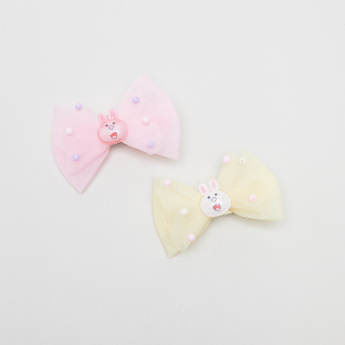 Charmz Bow Detail Embellished Hair Clips - Set of 2