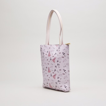 Charmz Printed Tote Bag with Zip Closure