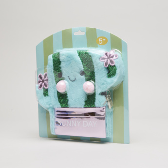 Juniors Cactus Shaped Plush Notebook with Lock and Key
