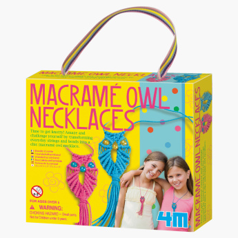 4M Macrame Owl Necklaces DIY Craft Set