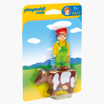 Playmobil Farmer with Cow Playset