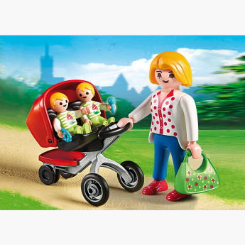 Playmobil Mother with Twin Stroller Playset