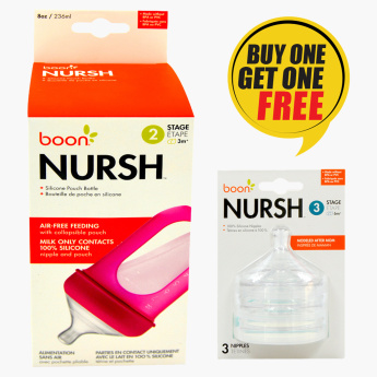 Boon Nursh Feeding Pouch Bottle with Free Teats