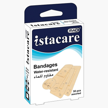 Max Istacare 50-Pieces Assorted Sizes Water Resistant Bandage Box
