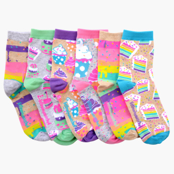 Little Miss Matched 6-Piece Cupcake Scented Ankle Length Socks