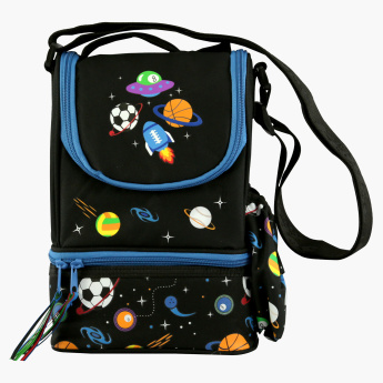 Smily Kiddos Printed Lunch Bag with Side Pocket